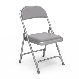 168 Folding Chair with a vinyl upholstered seat and back and a steel frame.