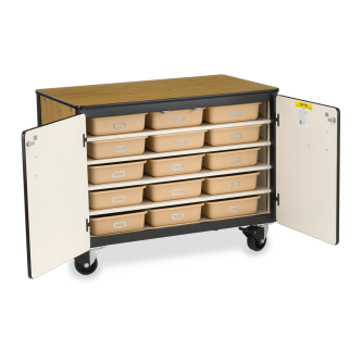 Mobile Storage Series Cabinet With One Fixed/Four Adjustable Shelves And 15 Tote Trays