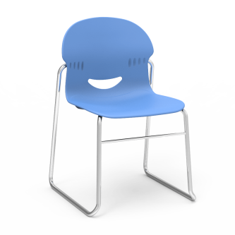 I.Q Sled Based Chair with a soft plastic bucket and steel frame