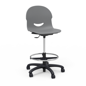 I.Q Lab Stool with foot ring, pedestal base, five prong hooded swivel casters, and soft plastic chair bucket