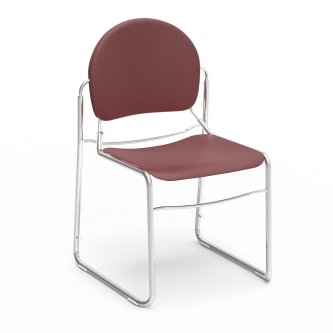 Virtuoso Stack Chair with soft plastic seat and back, and a steel frame.