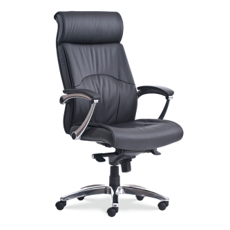4400 Eco Leather Task Chair with arms, a high back, black eco leather upholstered seat and back, pedestal base, and five prong legs with hooded swivel casters.