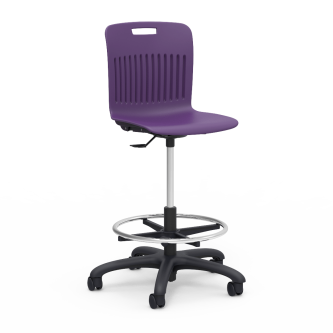 Analogy Lab Stool with soft plastic seat bucket, a pneumatic mechanism for seat height adjustment, adjustable footring, and pedestal base with five dual-wheel hooded swivel casters