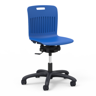 Analogy Series Room to Move Mobile Task Chair with a soft plastic seat bucket, and a pedestal base with casters.