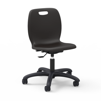 "N2 Mobile Task Chair with a soft plastic seat bucket, pedestal base, and five 2"" diameter, dual wheel, hooded swivel casters."
