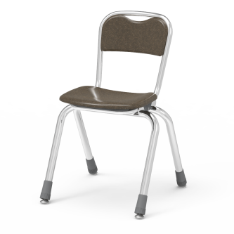 Telos Series 4-Leg Stack Chair with a hard plastic seat and back, and a steel frame.