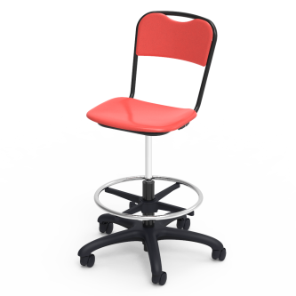 Telos Series Lab Stool with a hard plastic seat and back, and a pedestal base with footring and five casters.
