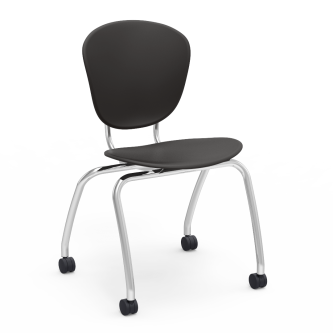 Parison 4-Leg Chair with a two piece soft plastic seat bucket and steel frame with casters.