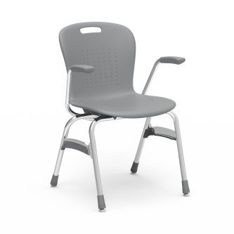 Sage 4-Leg Stack Chair with armrests, a soft plastic seat bucket and steel frame.