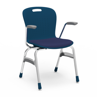 Sage Stack Chair with armrests, padded seat, a soft plastic seat bucket, and steel frame.
