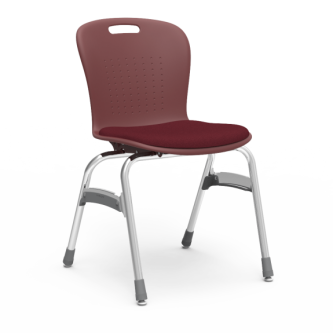Sage Stack Chair with padded seat, a soft plastic seat bucket, and steel frame.