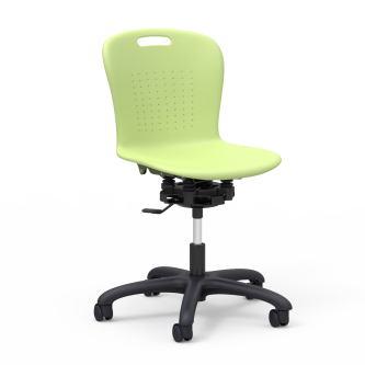 Sage Series Room to Move Mobile Task Chair with a soft plastic seat bucket, and pedestal base with five casters.