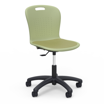 Sage Task Chair a padded seat and soft plastic seat bucket, and a pedestal base with five dual wheeled hooded casters.