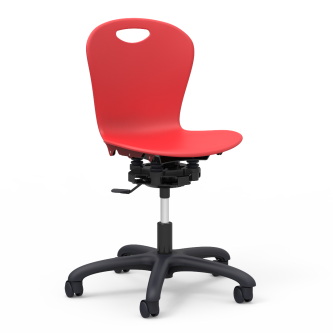 ZUMA Series Room to Move Mobile Task Chair with a soft plastic seat bucket, and a pedestal base with five  casters.