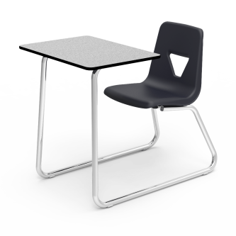 2000 Chair Desk with rectangle shape high-pressure laminate work surface, soft plastic chair bucket, and steel frame