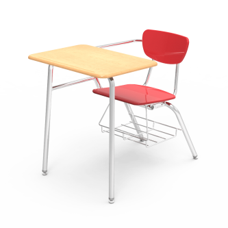 3000 Chair Desk with hard plastic seat and separate back rest, rectangle shaped hard plastic work surface, book rack, and steel frame.