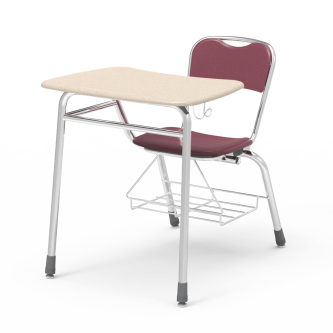 Telos Series Chair Desk with a bowfront top work surface, a hard plastic seat and back, a backpack hanger, and a steel frame with a bookrack.