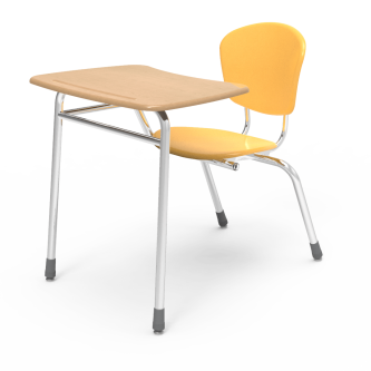 ZUMAfrd 4 Leg Chair Desk with a bowfront shape work surface , and a hard plastic separate seat and back.
