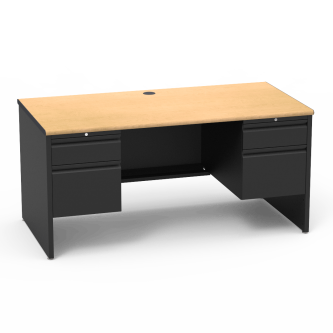 53 Series Desk with a four drawer Double Pedestal, a rectangular work surface, and a steel frame.