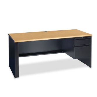 53 Series Desk with  two drawer Right-Hand Pedestal, a rectangular work surface, and a steel frame.