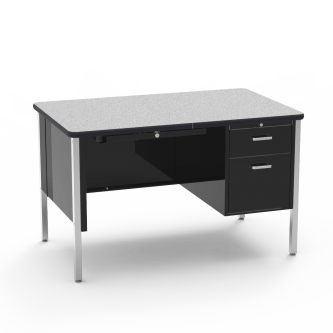 540 Teacher Desk  with a two drawer Single Pedestal, a rectangular work surface, and a four leg steel frame.