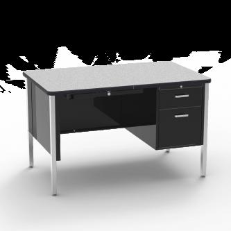 540 Teacher Desk  with a two drawer Single Pedestal, a rectangular work surface, and a four leg steel frame.