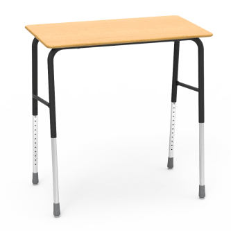 723W Desk with a laminate top work surface and four leg steel frame.