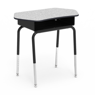 785  series with a Hard Plastic Top Collaborative work surface, a built in book box, and a four leg steel frame.