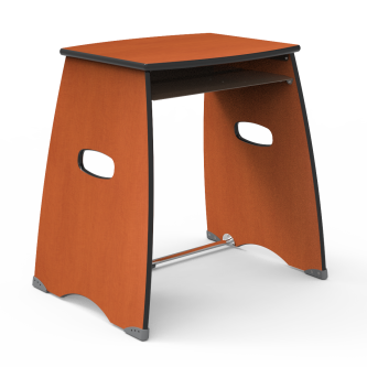 Metonymy Desk with a rectangular work surface and an open front under desk metal storage unit.