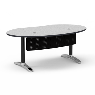 Plateau Office Desk with an ellipse shaped work surface, a modesty panel, and a two leg steel frame.