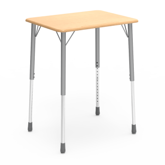 ZUMA Series Student Desk with a rectangular work surface and four leg steel frame.