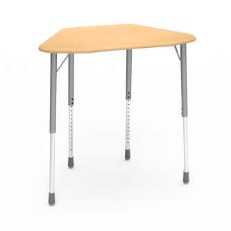 ZUMA Desk with a Hexagon shaped work collaborative work surface and a four leg steel frame.