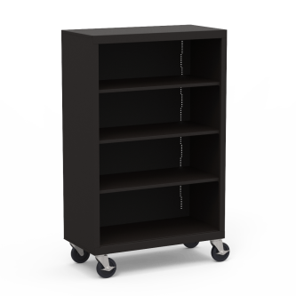 Metal Bookcase with Four Steel Shelves on Casters