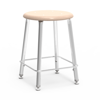 121 Lab Stool with a hard plastic seat and steel frame.
