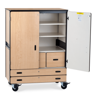 Mobile Storage Series Cabinet With Two Shelves, Two File Drawers, Two Paper Drawers, And One Coat Rod