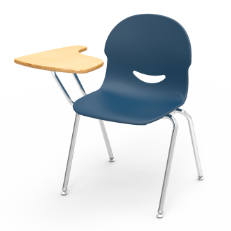 I.Q Tablet Arm Chair Desk with a high pressure laminate L-shaped work surface, soft plastic chair bucket, and steel frame