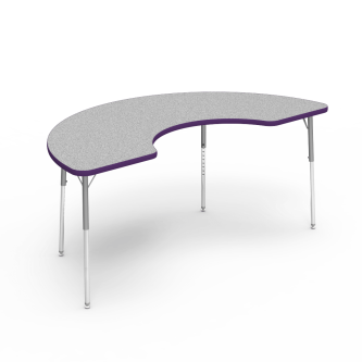 4000 Series Table with a Half Moon Top and Steel Adjustable Legs
