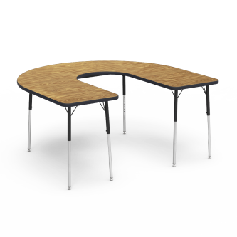 4000 Series Table with a Horseshoe Top with a Deep Center Cut and Steel Adjustable Legs