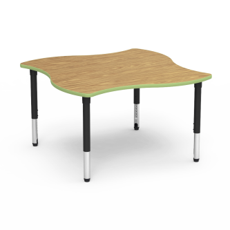 5000 Series Table with Swerve Shape Top and Adjustable Steel Legs