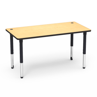 5700 Series Table with Rectangle Top, Two Grommets, and Adjustable Steel Legs