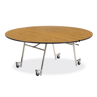 MT Series Mobile Folding Table with Round Top and Steel Legs with Casters