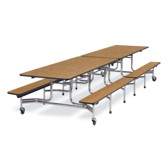 MT Series Mobile Table with Folding Rectangle Top and Bench Seats