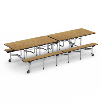 MT Series Mobile Table with Folding Rectangle Top and Built-in Benches