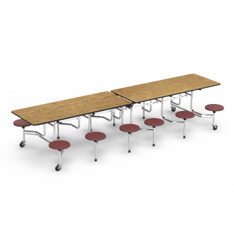 MTS Series Mobile Table with Folding Rectangle Top and 12 Stools