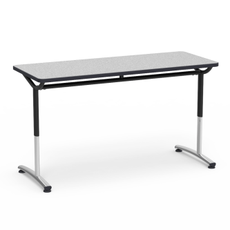 TEXT Series Seminar Table with Rectangle Top and Adjustable Steel Legs
