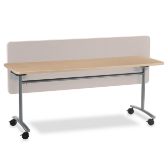 TEXT Series Table with Rectangle Tilt-Top and Steel Legs on Casters