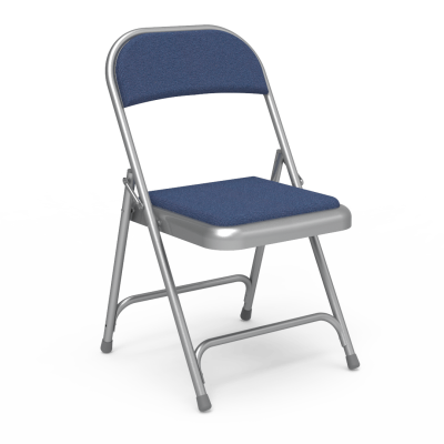 188 Folding Chair with fabric upholstered seat and back and steel frame.
