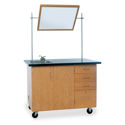 Science Lab Demonstration Table with Built-in Sink, Whiteboard, and Cabinet on 4 casters