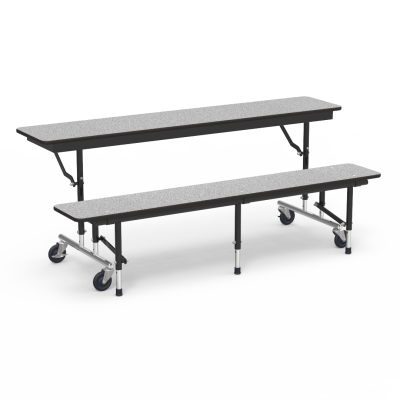 MTC Series Mobile Convertible Bench Table with a rectangle top that seats 4 to 5 and steel legs with 4 casters.