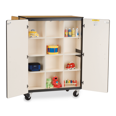Mobile Storage Series Double-Faced Cabinet With Twelve Cubicles